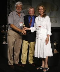 Jacques Pepin presents Sarabeth and Bill with the 2008 Sofi Gold Outstanding Hot Beverage Award.